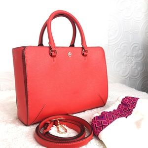🌸OFFERS?🌸Tory Burch Leather Poppy Red Satchel